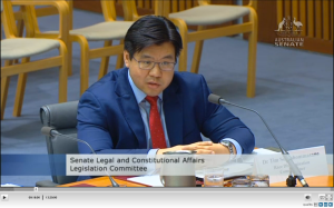 Appearing at the Senate Estimates Hearing in Canberra
