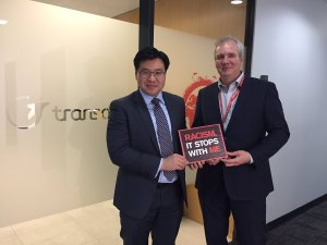 With Rene Lalande, CEO Transdev and Racism. It Stops with Me Supporter
