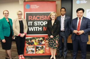 With Commission President Rosalind Croucher and panellists Tracy Howe, Verity Firth and Jeremy Fernandez at the CSA launch for Racism. It Stops With Me.