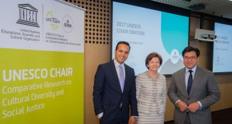 With Prof. Fethi Mansouri and Vice-Chancellor Jane Hollander of Deakin University at the UNESCO Chair Oration, 10 October 2017